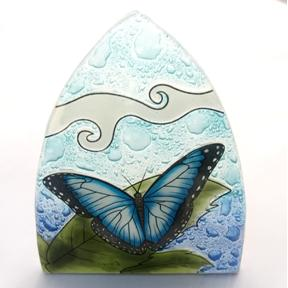 Blue Butterfly Glass Night Light