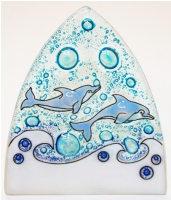 Bottle Nose Dolphins Glass Night Light