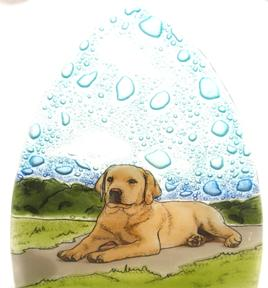 Yellow Lab Glass Night Light