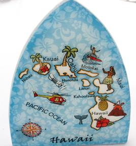 Hawaiian Map Glass Night Light