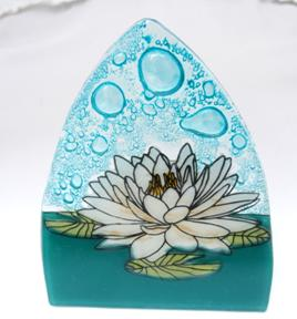 White Lotus Flower Glass Night Light