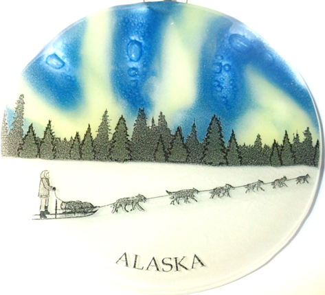 Northern Lights Sled Dog ornament
