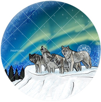 Northern Lights Wolf ornament