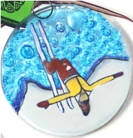 Skier Jump Yellow Sweater Ornament