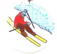 Skier Red Sweater Ornament+C334