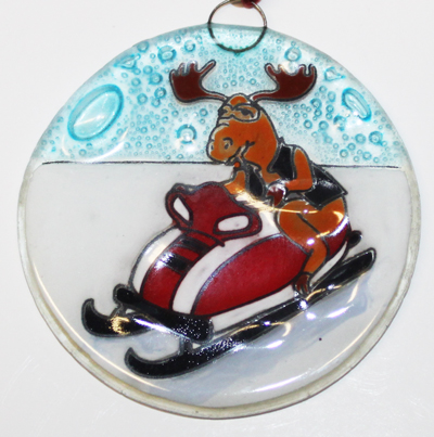 Moose on a Snowmobile Ornament