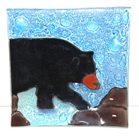 Black Bear Walking  Medium Plate