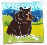 Black Bear Sitting  Medium Plate