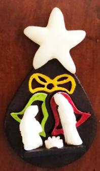 Tagua Christmas Nativity Ornament of the Holy Family