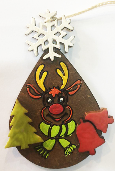 Tagua Christmas Tagua Ornaments of Rudolph the Raindeer