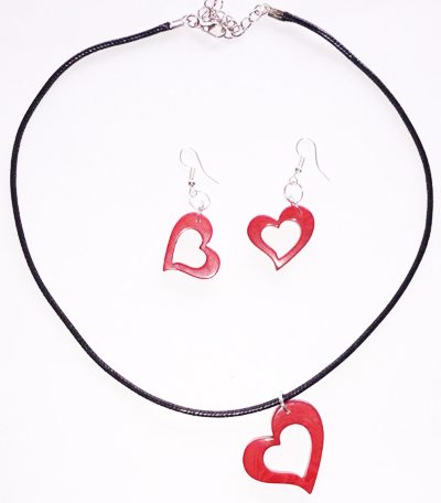 Tagua Heart Earring and Necklas Set
