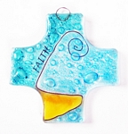 Small Fused Glass Cross / Ornament - Faith