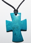 Tagua Cross Necklace Aqua
