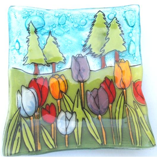 Tulips Flowers Dish