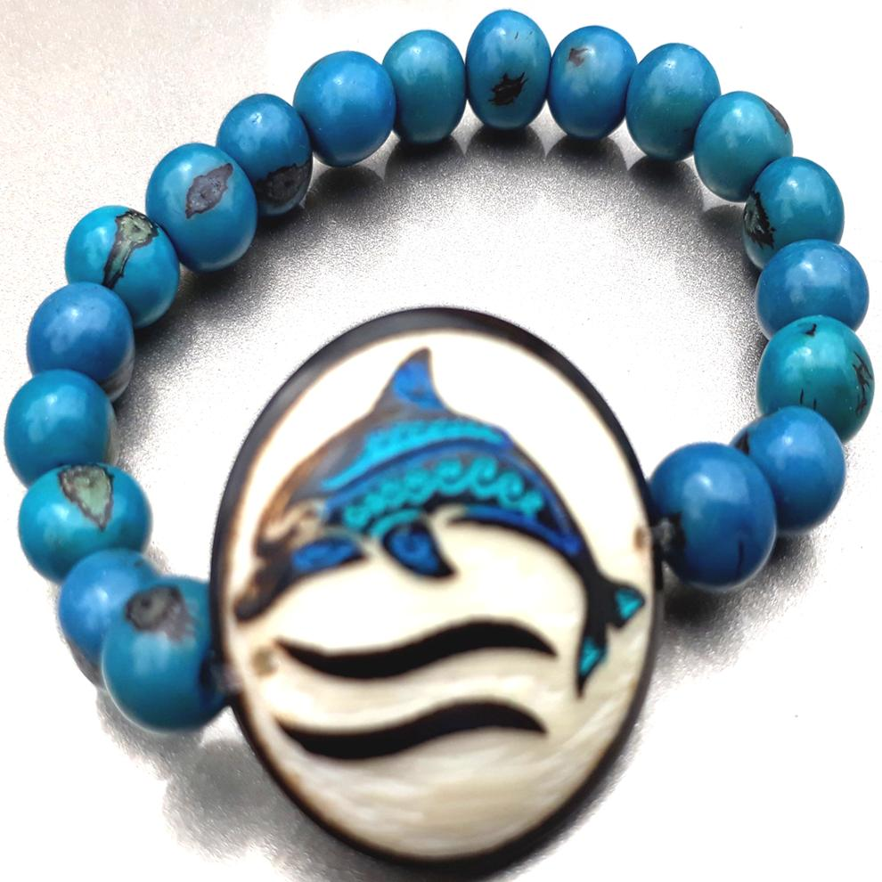 Dolphin Bracelate  Made with Tagua