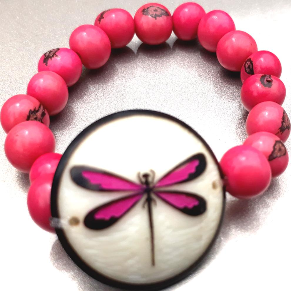 Dragon Fly Bracelate  Made with Tagua