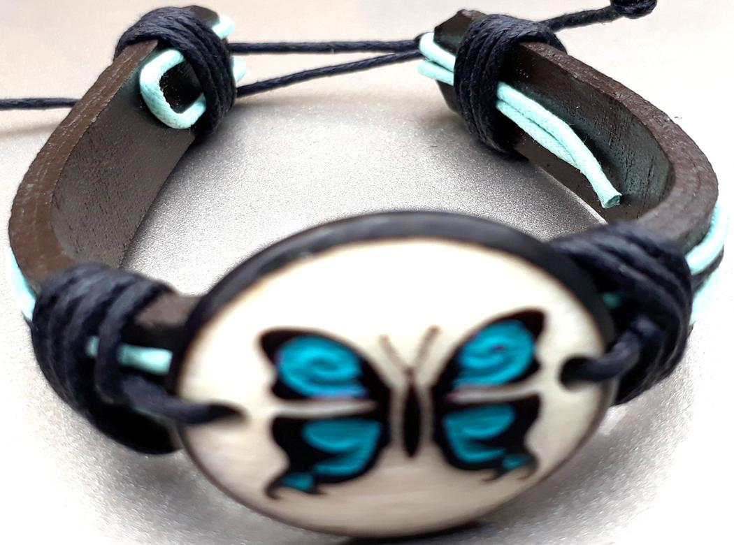 Butterfly Leather Bracelets  Made with Tagua