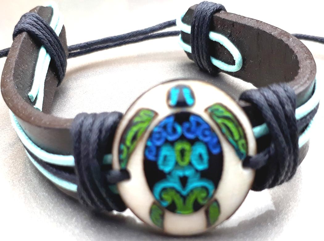Sea Turtle Leather Bracelets  Made with Tagua