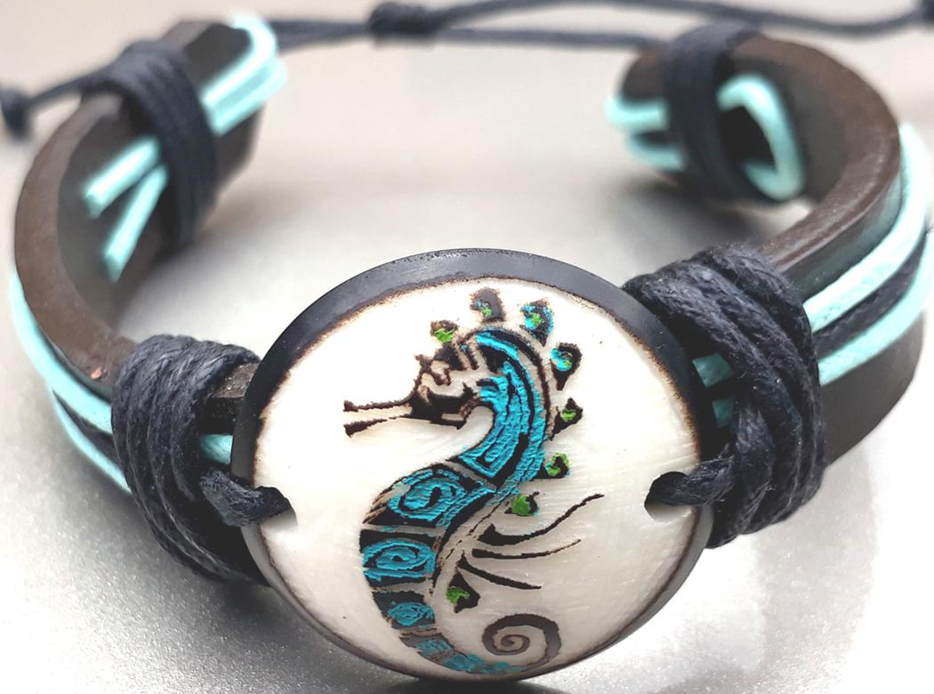 Sea Horse Leather Bracelets  Made with Tagua