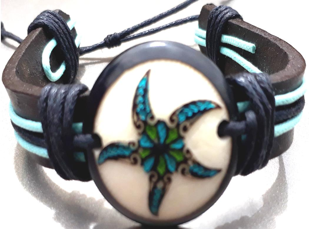 Star Fish Leather Bracelets  Made with Tagua