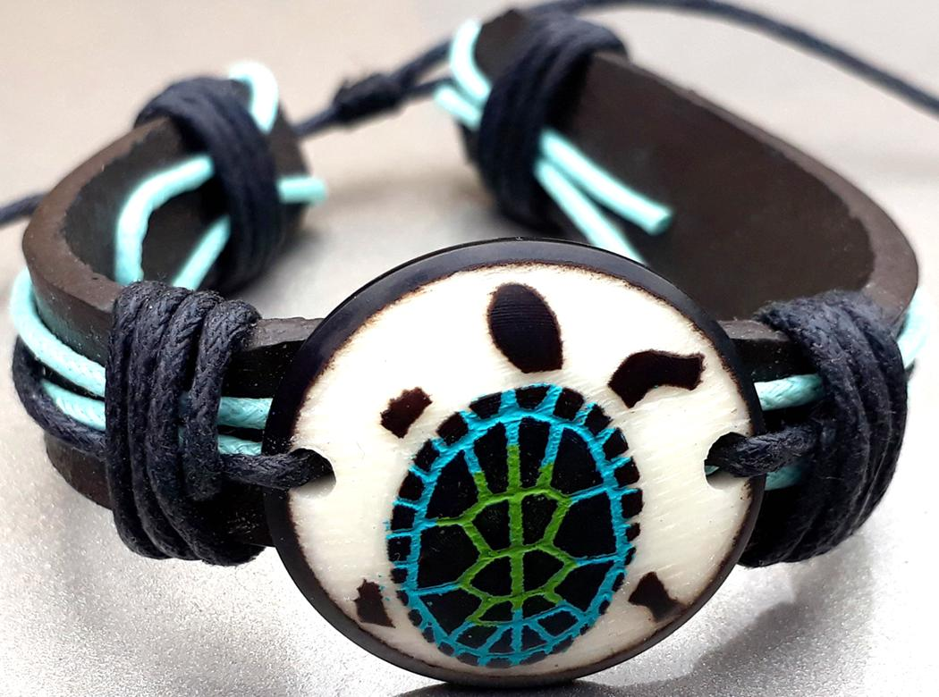 Turtle Leather Bracelets  Made with Tagua