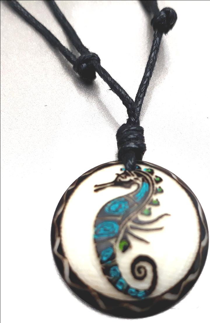 Sea Horse Necklace Made with Tagua
