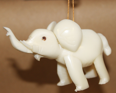 Large Elephant Tagua Ornament
