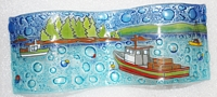 Fishing Boat Small Wavy Glass