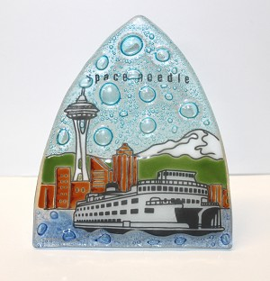 Space Needle with Ferry Boat Glass Night Light