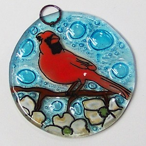 Cardinal on Dog Wood Tree Ornament