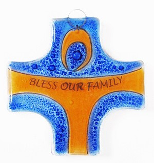 Small Fused Glass Cross / Ornament - Bless