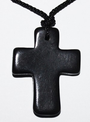 Tagua Cross Necklace Black