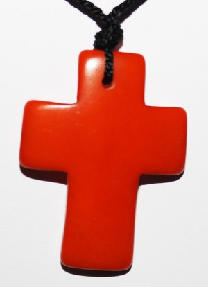 Tagua Cross Necklace Orange