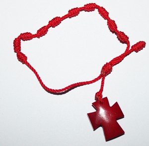 Tagua Cross Bracelet  Red