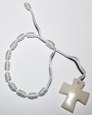 Tagua Cross Bracelet White