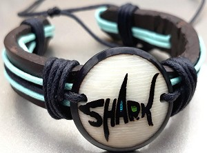 Shark Leather Bracelets  Made with Tagua