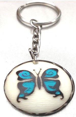 Butterfly Tribal Tagua Key Chain