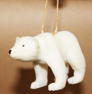Polar Bear Tagua Ornament