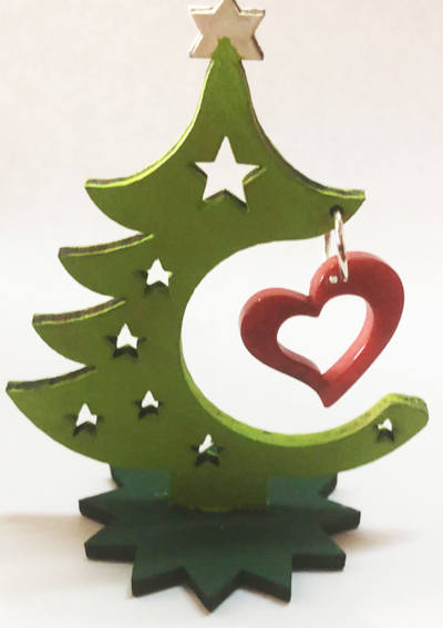 Tagua Home Décor Christmas Tree with Heart Decoration