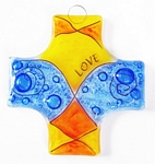 Small Fused Glass Cross / Ornament - Love