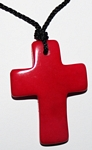 Tagua Cross Necklace Red