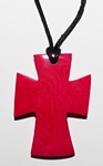Tagua Cross Necklace Fuccia