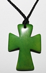 Tagua Cross Necklace Lime Green