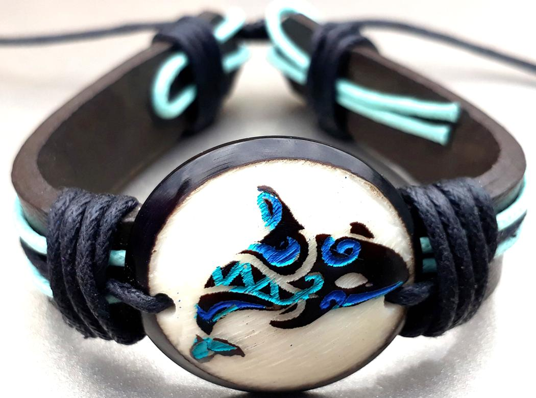 Orca Leather Bracelets  Made with Tagua
