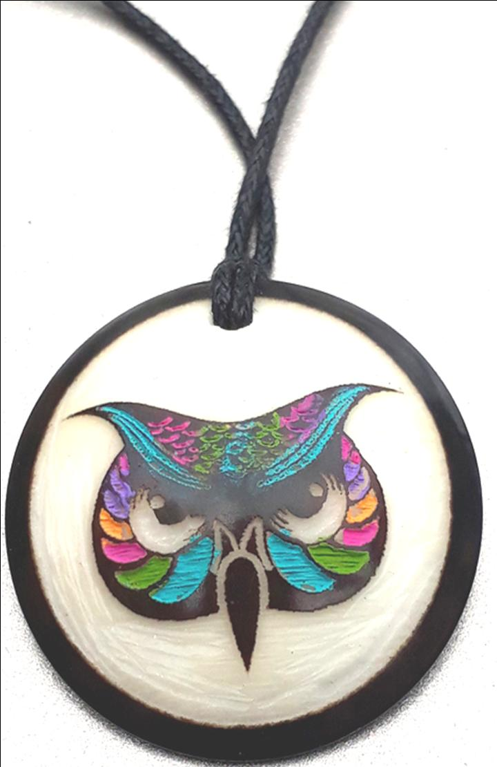 Owl  Necklace Made with Tagua