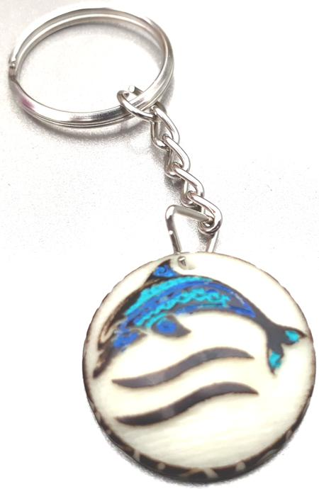 Dolphin Tribal Tagua Key Chain