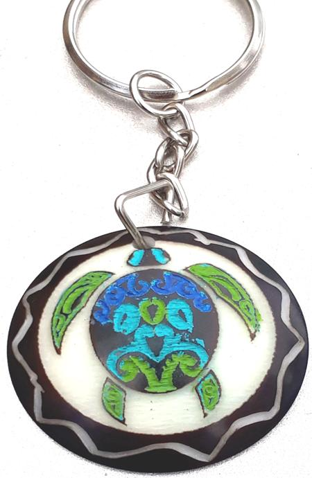 Sea Turtle Tribal Tagua Key Chain