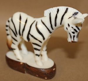 Large Zebra Tagua Carving
