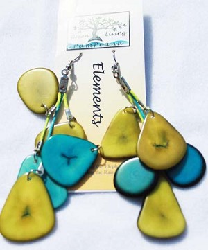 Slice Earring Lime Green and Aqua